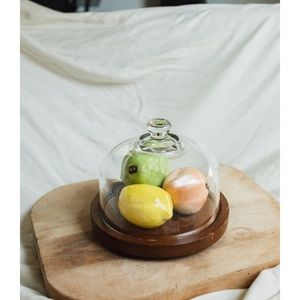 Flat wooden cake stand